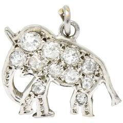 Art Deco Pave Old European Cut Diamond Platinum Elephant Charm