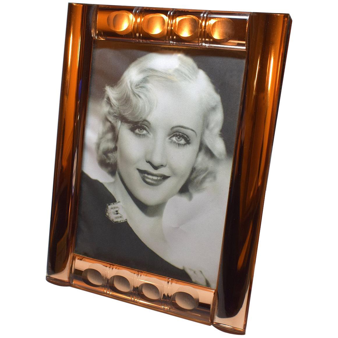 Art Deco Peach Mirrored Bevelled Glass Picture Frame, circa 1930