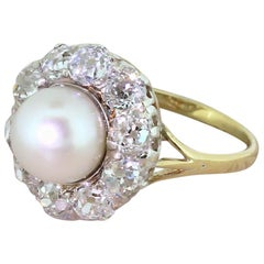 Art Deco Pearl and 1.96 Carat Old Cut Diamond Cluster Ring
