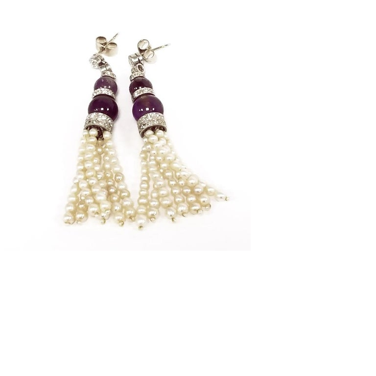 Art Deco Pearl and Amethyst Diamond-Accented Earrings In Excellent Condition For Sale In New York, NY
