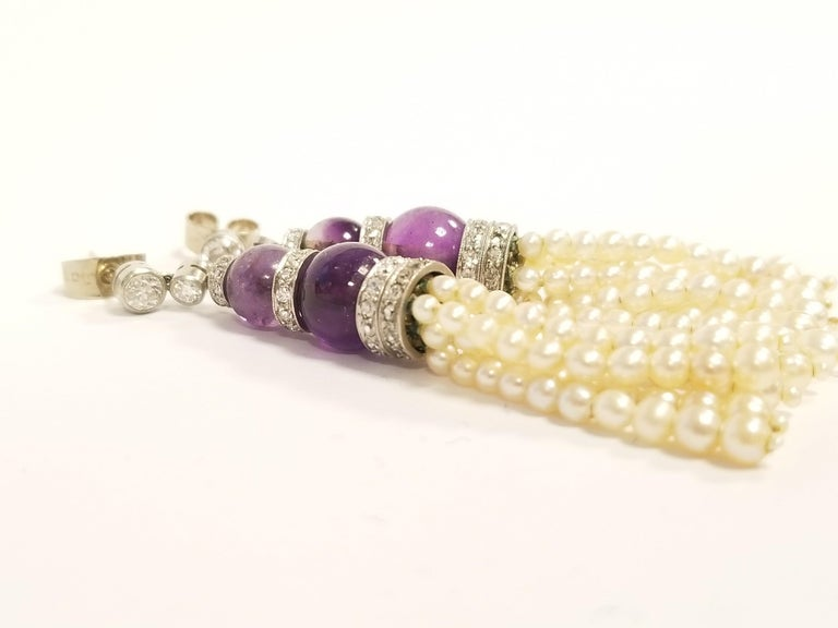 Women's Art Deco Pearl and Amethyst Diamond-Accented Earrings For Sale