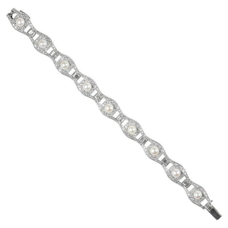 Art Deco Pearl and Diamond Bracelet For Sale