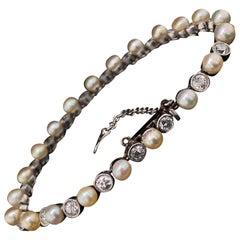 Art Deco Pearl and Diamond Platinum Bracelet