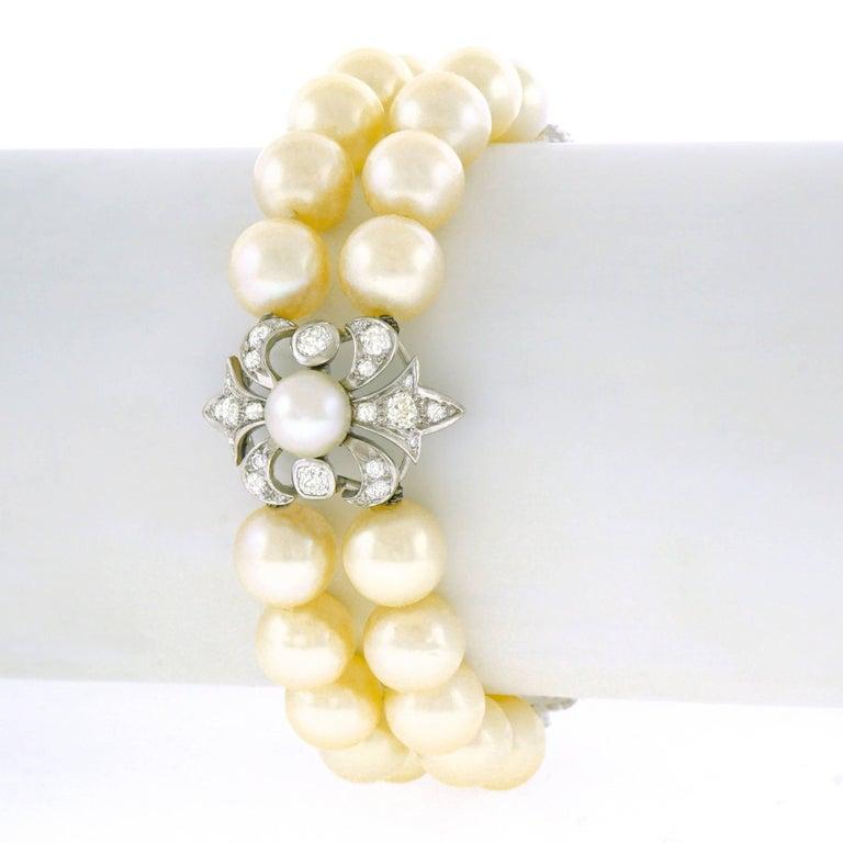 Art Deco Pearl and Diamond Set Fleur-de-Lis Gold Bracelet In Excellent Condition For Sale In Litchfield, CT