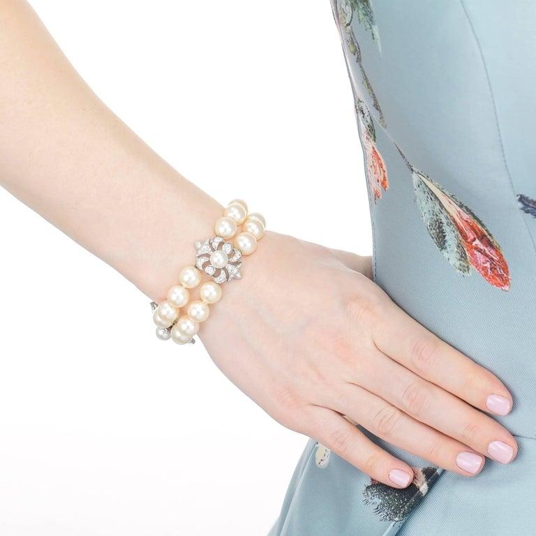 Women's Art Deco Pearl and Diamond Set Fleur-de-Lis Gold Bracelet For Sale