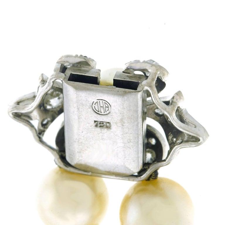 Art Deco Pearl and Diamond Set Fleur-de-Lis Gold Bracelet For Sale 1