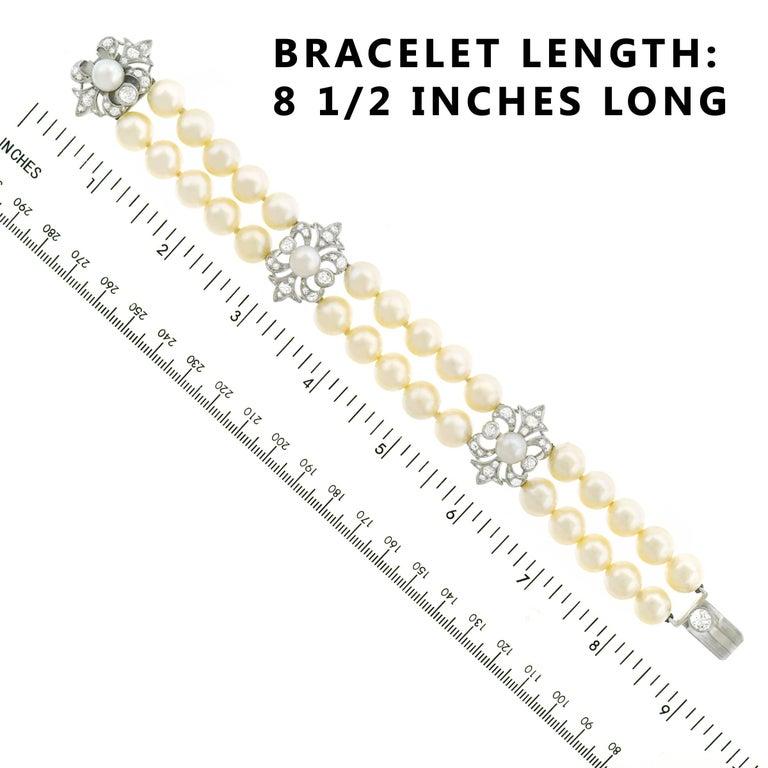 Art Deco Pearl and Diamond Set Fleur-de-Lis Gold Bracelet For Sale 2