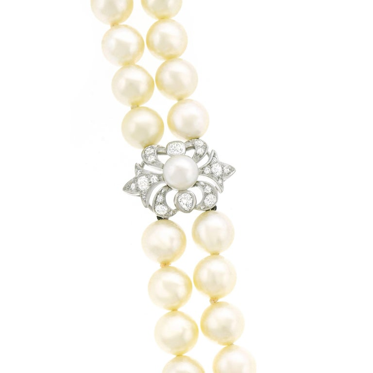 Art Deco Pearl and Diamond Set Fleur-de-Lis Gold Bracelet For Sale 3