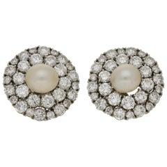 Art Deco Style Pearl Old Mine Cut Diamond Cluster Earrings Set in 18 Karat Gold