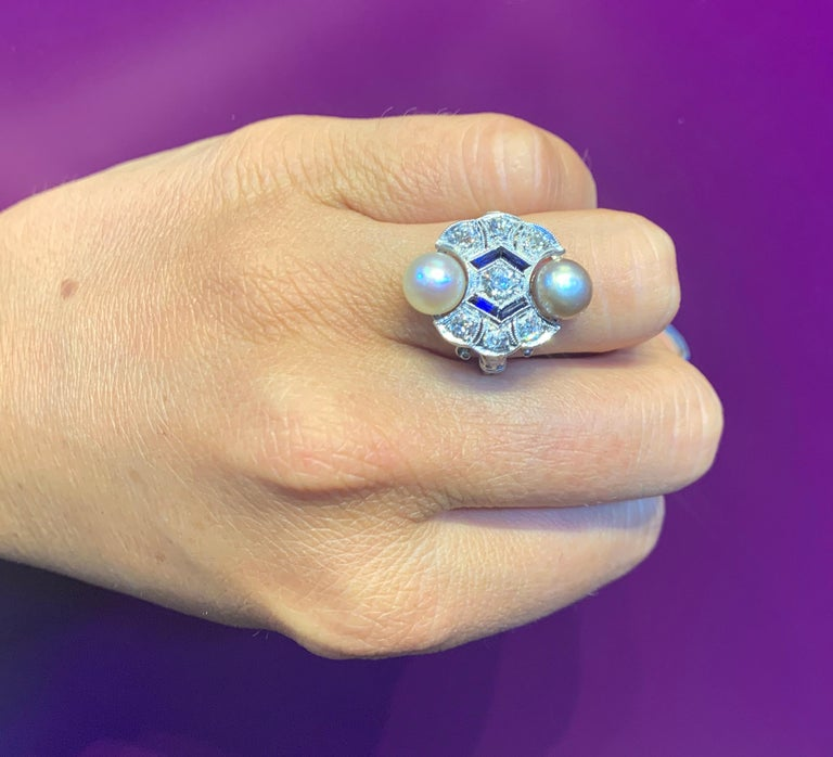 Art Deco Pearl & Diamond Cocktail Ring Set with 2 Natural pearls and 7 old mine diamonds. Approximate Diamond Weight: .70 Cts  Ring Size: 6 Resizable to any size free of charge Gold Type: 18K White Gold