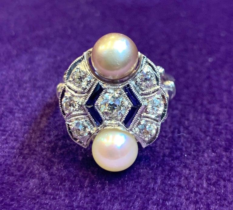 Round Cut Art Deco Pearl & Diamond Ring For Sale