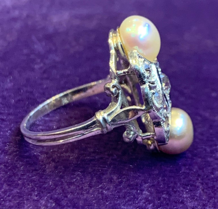 Art Deco Pearl & Diamond Ring In Excellent Condition For Sale In New York, NY