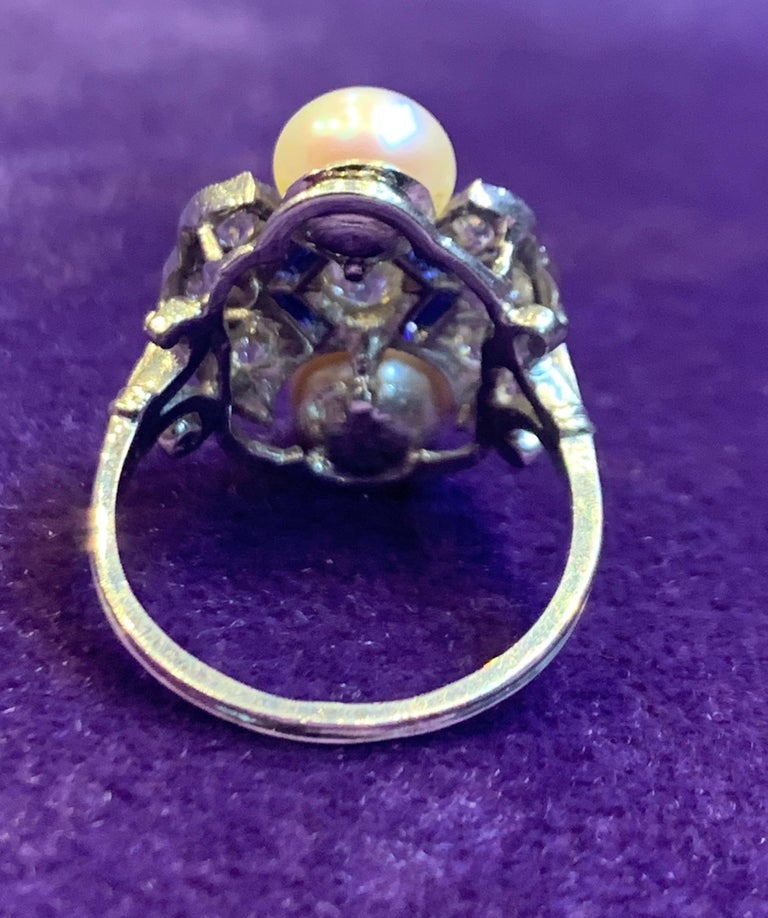 Women's Art Deco Pearl & Diamond Ring For Sale