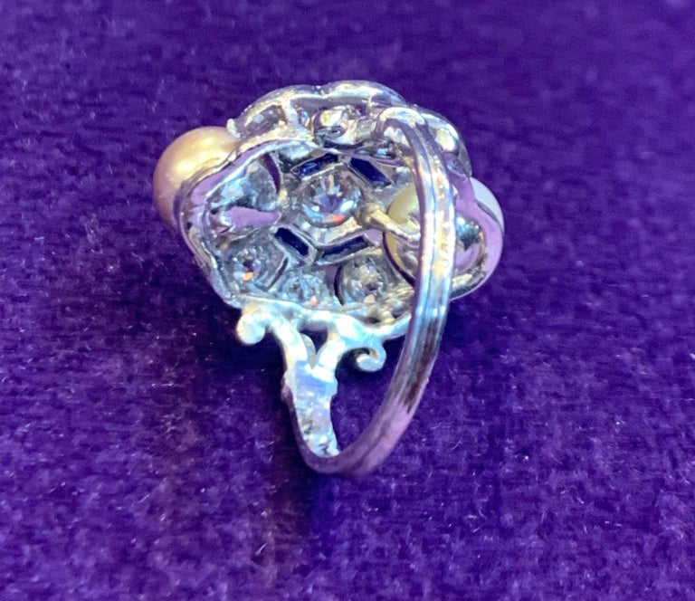 Art Deco Pearl & Diamond Ring For Sale 1