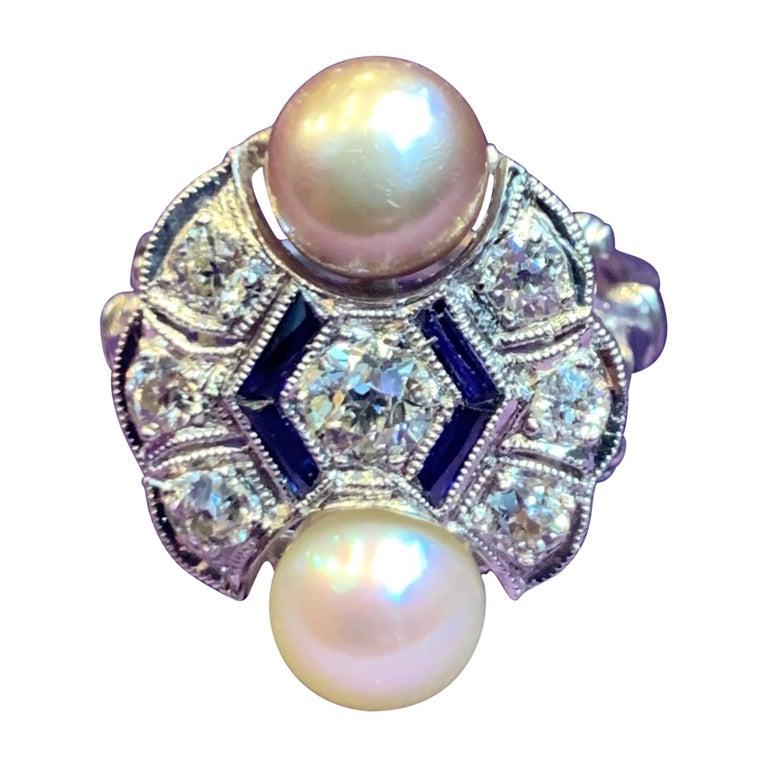 Art Deco Pearl & Diamond Ring For Sale