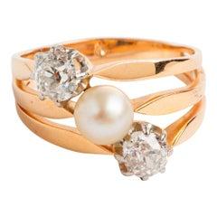 Art Deco Pearl & Diamond Trilogy Ring 'est .62carat & .68carat' 18K Yellow Gold