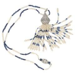 Art Deco Pearl Sapphire Long Tassel Drop Necklace