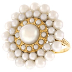 Art Deco Pearl-Set Gold Ring