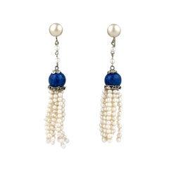 Art Deco Pearl Tassel Earrings