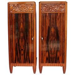 Art Deco Pedestal Cabinets Veneered Macassar Ebony and Solid Walnut, French 1925