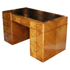 Art Deco Pedestal Desk Attributed to Heal's of London, Circa 1935