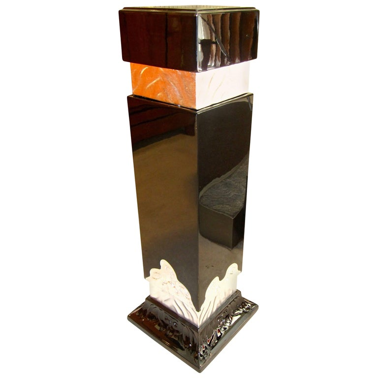 Art Deco Pedestal, Silver-Plated and Blackened Wood, France/Paris, circa 1930 For Sale