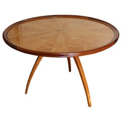 Art Deco Pedestal Table in Sycamore and Blond Mahogany, France, circa 1950