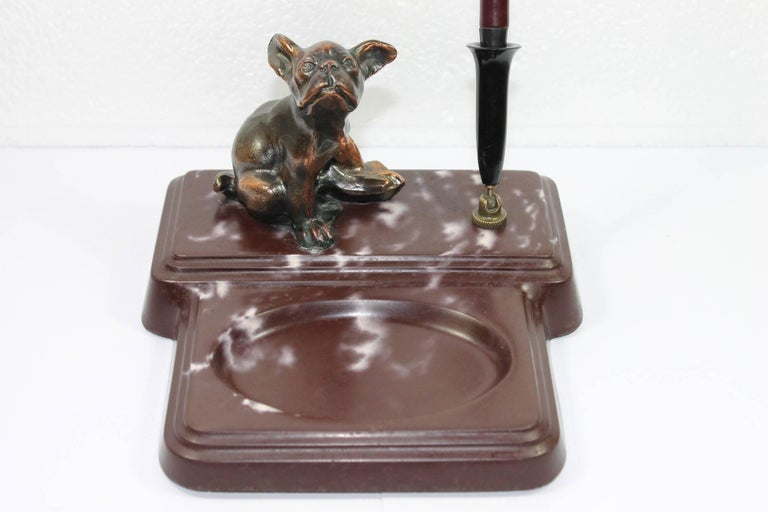 Art Deco Pen Holder with French Bulldog, 1940s For Sale 4