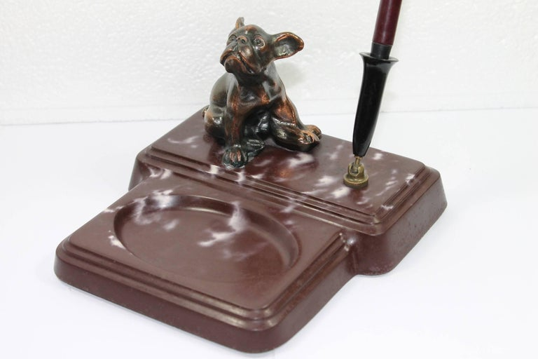 Art Deco desk set - pen holder - paper weight - Desk Accessory with a French bulldog on top.  This Animal Themed Pen Holder has a brown and white Marble Base with a bronze bulldog dog on top and a movable pen holder with a fountain pen. The pen
