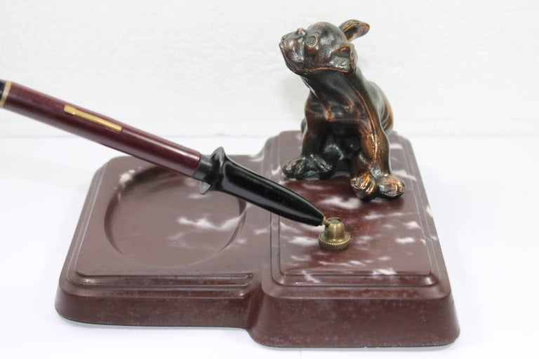 Art Deco Pen Holder with French Bulldog, 1940s For Sale 1