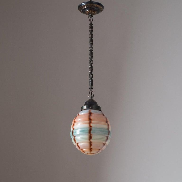 Art Deco Pendant, 1920s, Enameled Glass  For Sale 7