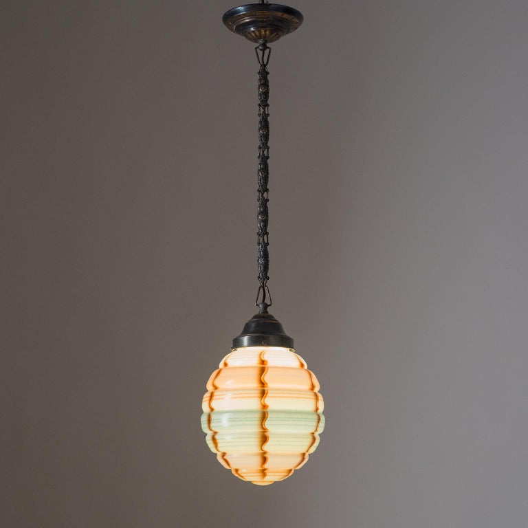 German Art Deco Pendant, 1920s, Enameled Glass  For Sale