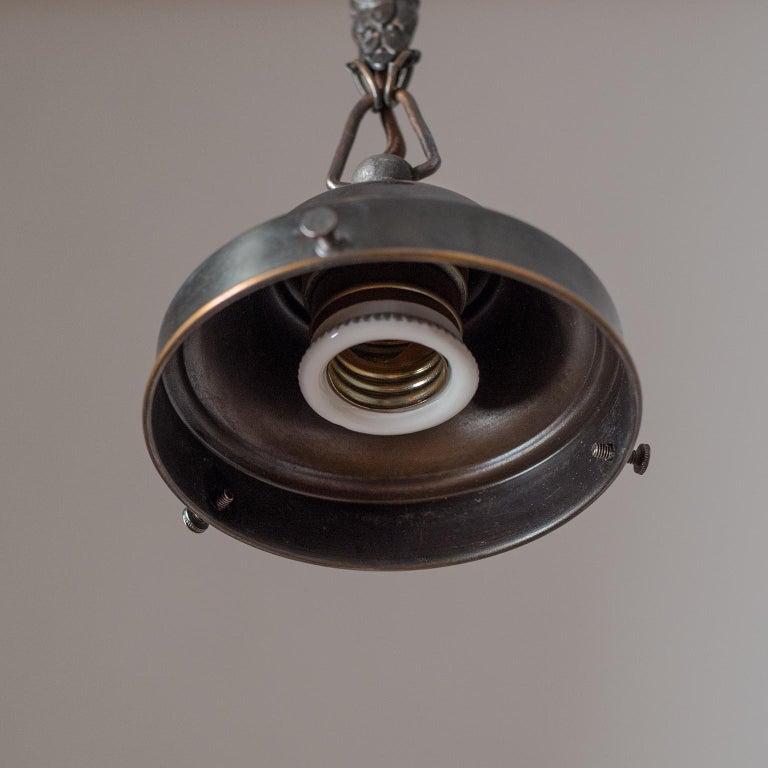 Copper Art Deco Pendant, 1920s, Enameled Glass  For Sale
