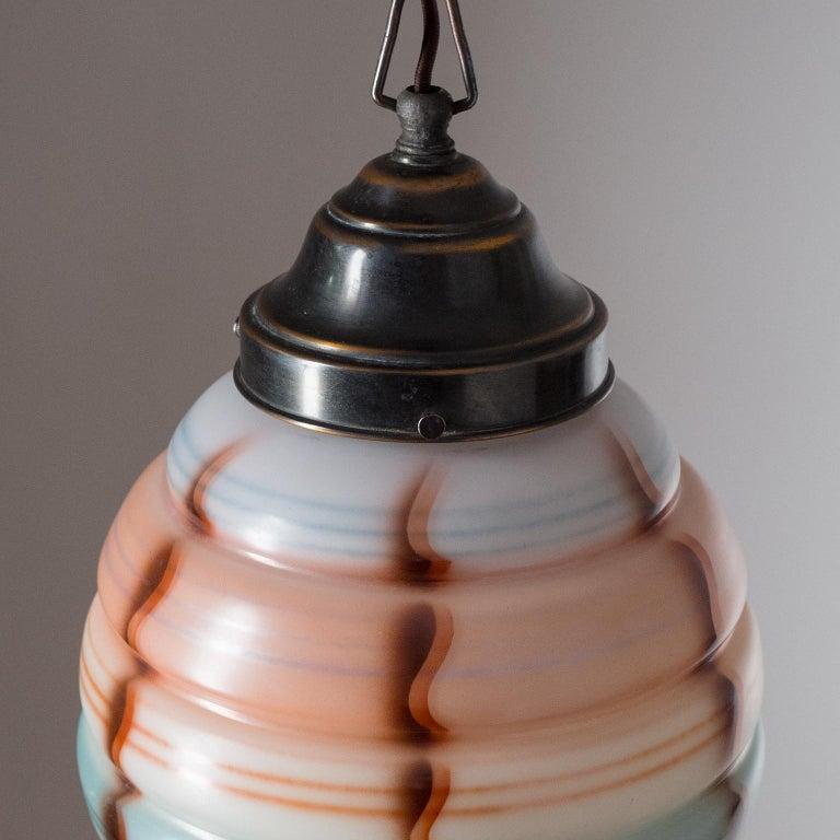Art Deco Pendant, 1920s, Enameled Glass  For Sale 3