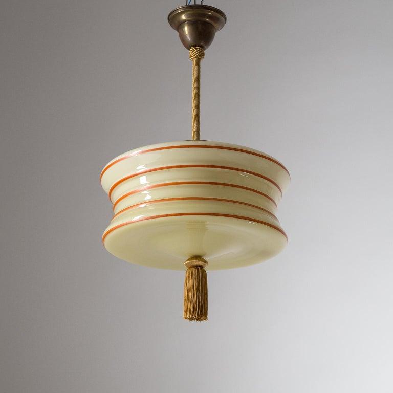 Art Deco Pendant, 1930s, Enameled Glass For Sale 6