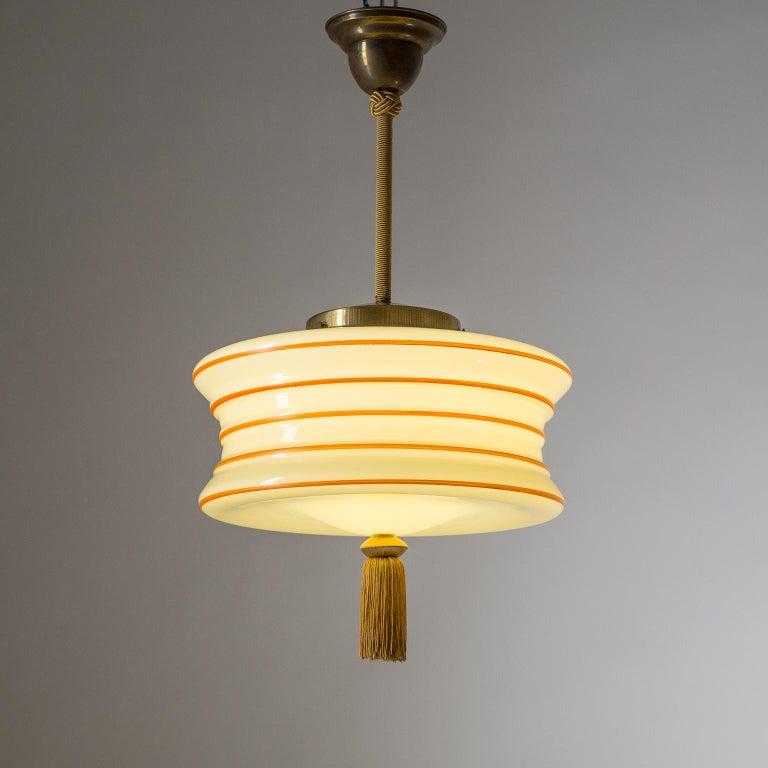 German Art Deco Pendant, 1930s, Enameled Glass For Sale