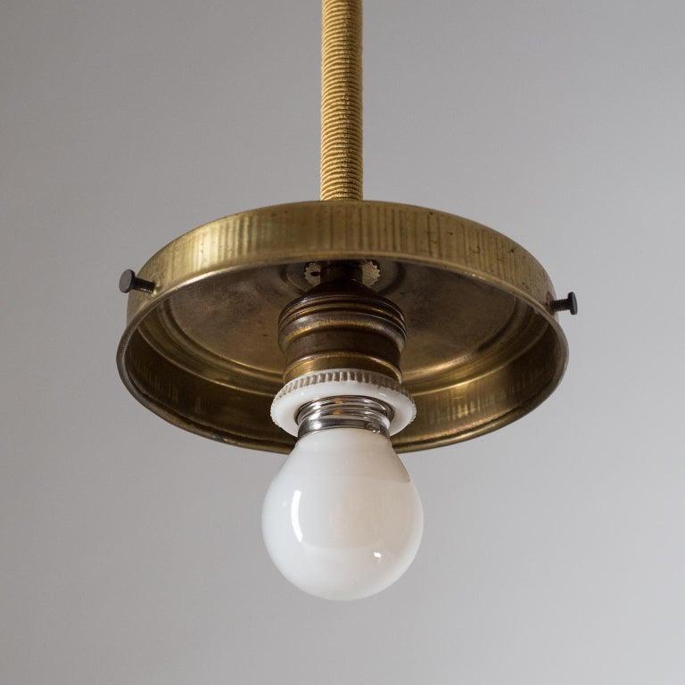 Brass Art Deco Pendant, 1930s, Enameled Glass For Sale
