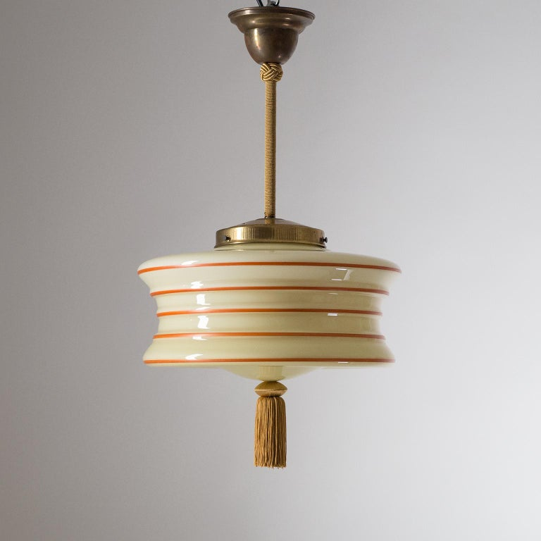 Art Deco Pendant, 1930s, Enameled Glass For Sale 2