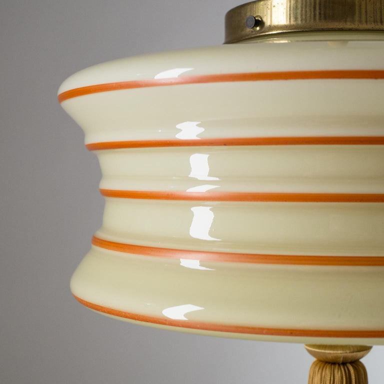 Art Deco Pendant, 1930s, Enameled Glass For Sale 3