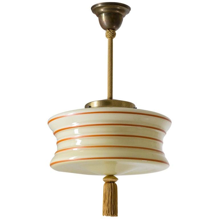 Art Deco Pendant, 1930s, Enameled Glass For Sale