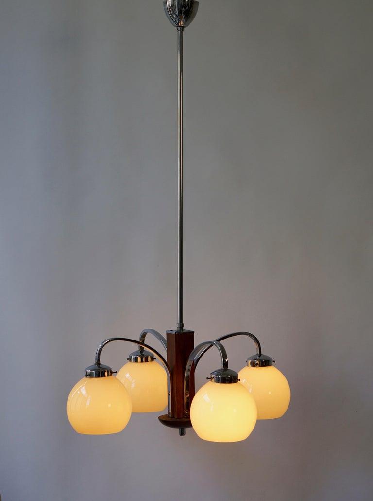 Glass Art Deco Pendant Chandelier For Sale