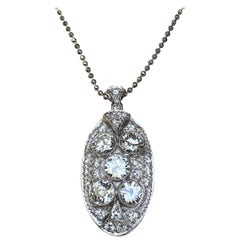 Art Deco Pendant, Diamond Total 4.75 Carat, White Gold, Certified