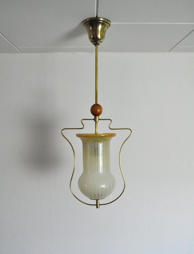 Brass and etched glass Art Deco pendant light with the original canopy. Probably produced in Sweden in the 1930s. Fine vintage condition, signs of wear consistent with age and use. Small chips on the top of the glass shade. Light source: E27