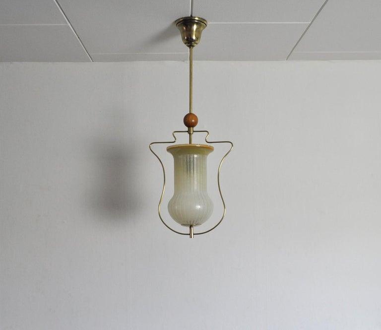 Etched Art Deco Pendant Light, Scandinavian, 1930s For Sale
