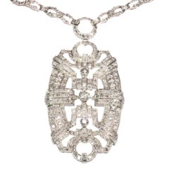 Art Deco Pendant Necklace with 20+ Carat Diamonds Can Be Worn as 3 Bracelets