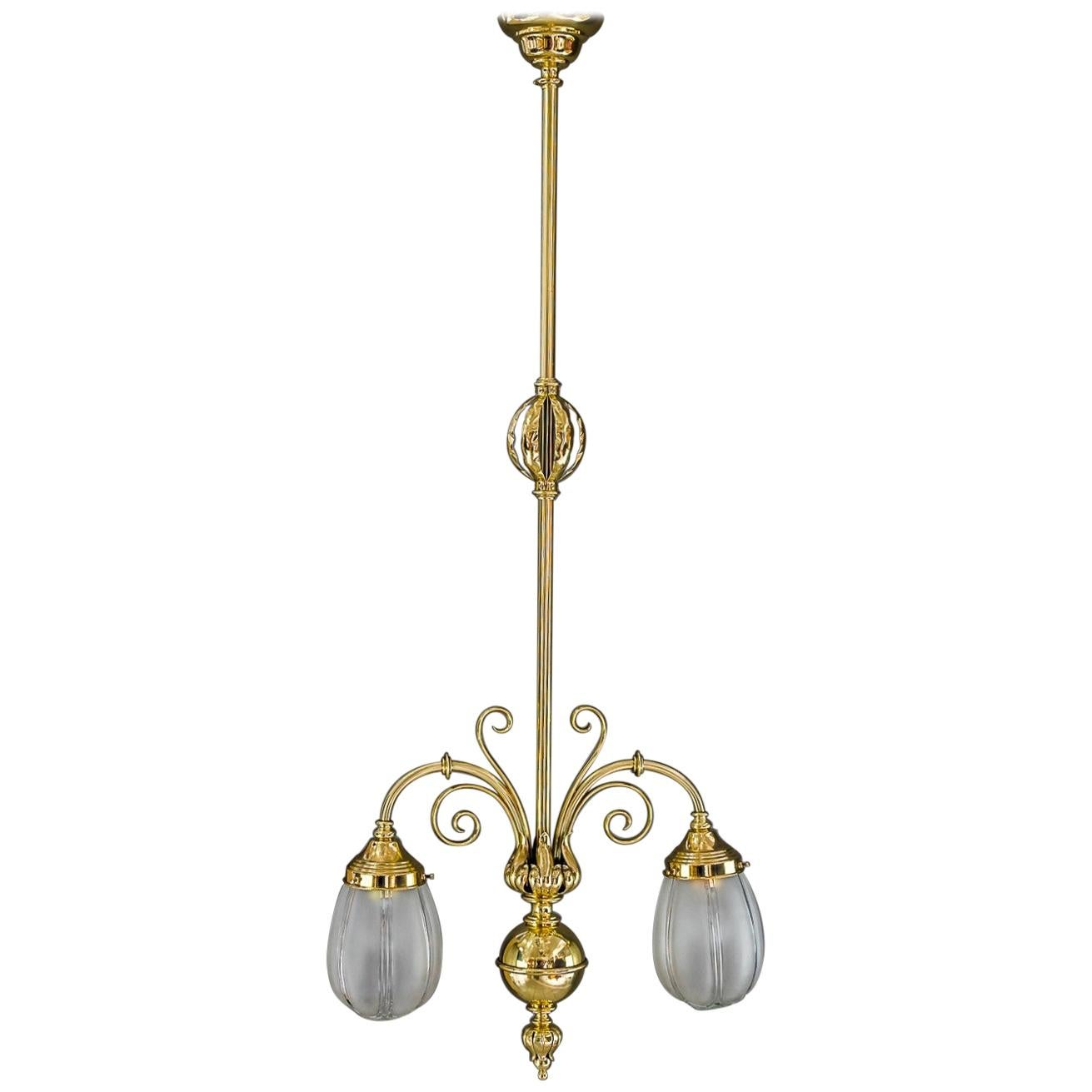 Art Deco Pendant with Original Glass Shades, Vienna, around 1920s