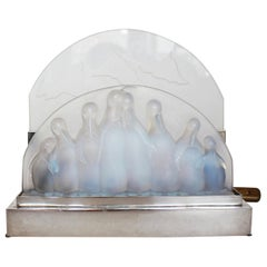 Art Deco Penguin Lamp by Costebelle Frosted Opalescent Glass, French, circa 1930