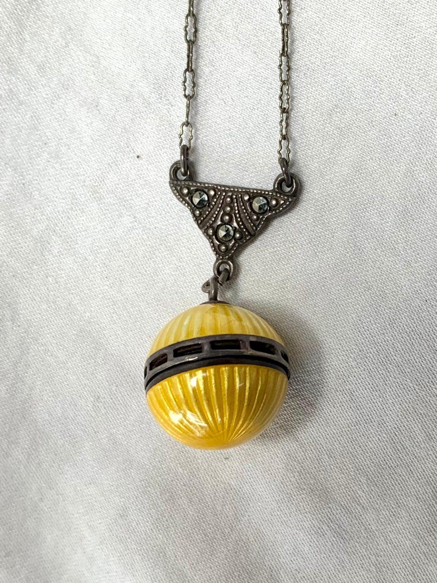 with 16.5 Chain Antique Silver Guilloche Pendant