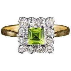 Art Deco Peridot Diamond Ring 18 Carat Gold, circa 1920