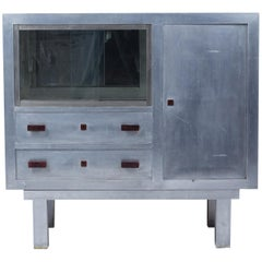 Art Deco Period Aluminum Sideboard Forming Showcase